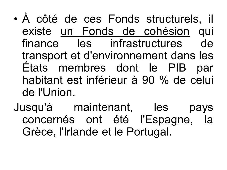 À côté de ces Fonds structurels, il existe un Fonds de cohésion qui finance les infrastructures de transport et d environnement dans les États membres dont le PIB par habitant est inférieur à 90 % de celui de l Union.