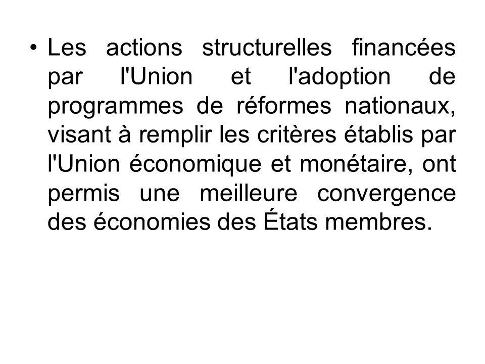 Les actions structurelles financées par l Union et l adoption de programmes de réformes nationaux, visant à remplir les critères établis par l Union économique et monétaire, ont permis une meilleure convergence des économies des États membres.