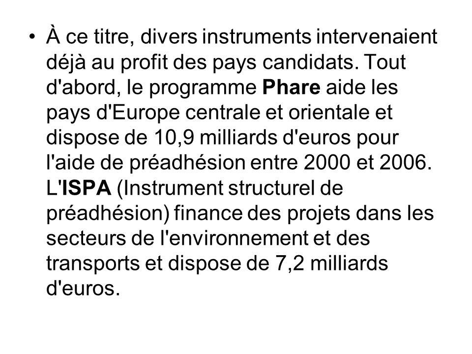 À ce titre, divers instruments intervenaient déjà au profit des pays candidats.