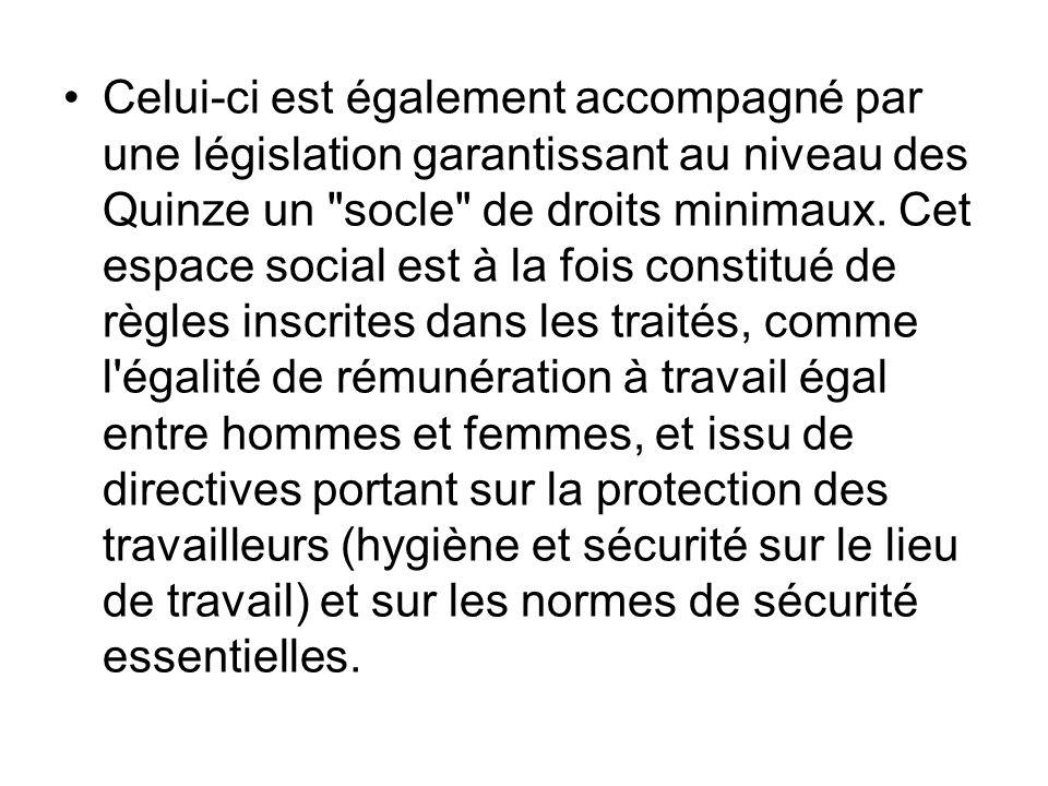 Celui-ci est également accompagné par une législation garantissant au niveau des Quinze un socle de droits minimaux.