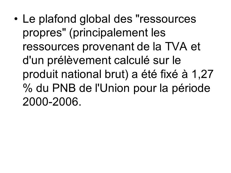 Le plafond global des ressources propres (principalement les ressources provenant de la TVA et d un prélèvement calculé sur le produit national brut) a été fixé à 1,27 % du PNB de l Union pour la période 2000-2006.
