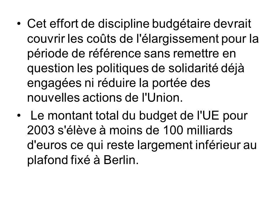 Cet effort de discipline budgétaire devrait couvrir les coûts de l élargissement pour la période de référence sans remettre en question les politiques de solidarité déjà engagées ni réduire la portée des nouvelles actions de l Union.