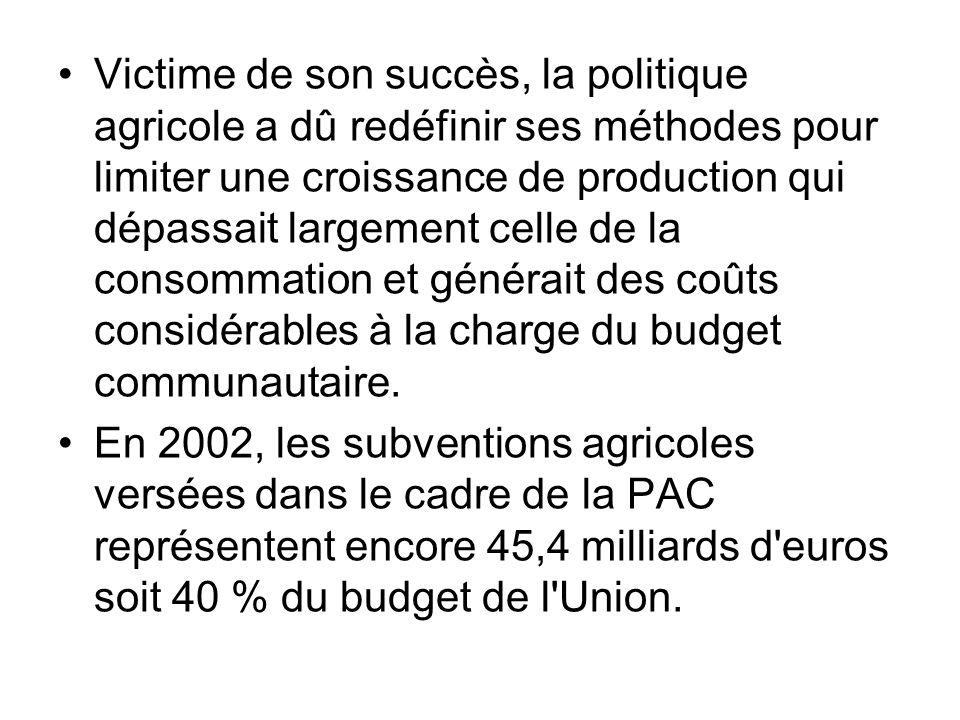 Victime de son succès, la politique agricole a dû redéfinir ses méthodes pour limiter une croissance de production qui dépassait largement celle de la consommation et générait des coûts considérables à la charge du budget communautaire.