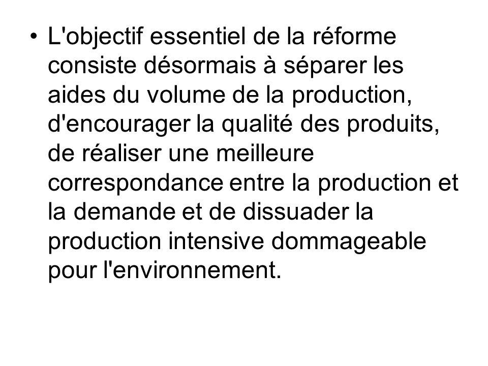 L objectif essentiel de la réforme consiste désormais à séparer les aides du volume de la production, d encourager la qualité des produits, de réaliser une meilleure correspondance entre la production et la demande et de dissuader la production intensive dommageable pour l environnement.