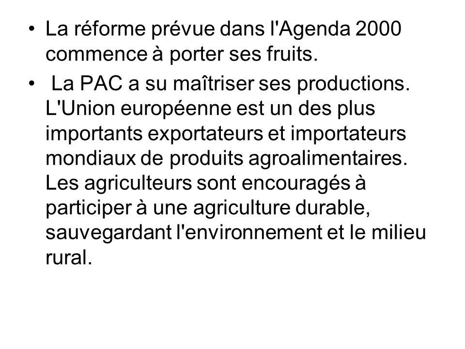 La réforme prévue dans l Agenda 2000 commence à porter ses fruits.