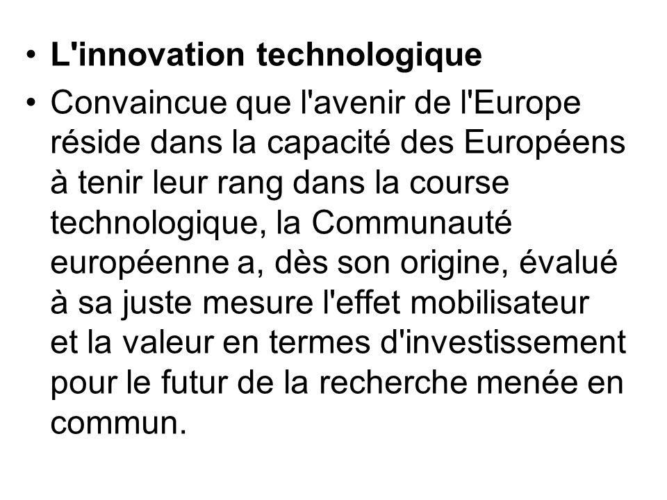 L innovation technologique