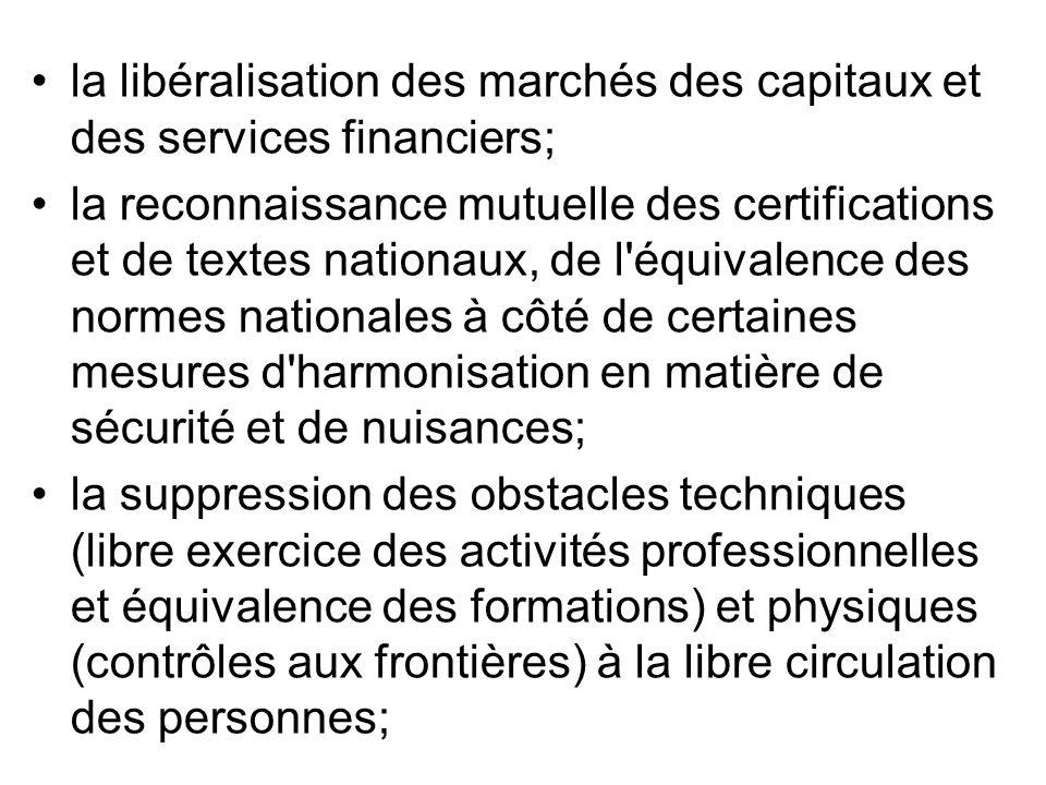 la libéralisation des marchés des capitaux et des services financiers;