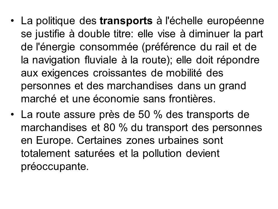 La politique des transports à l échelle européenne se justifie à double titre: elle vise à diminuer la part de l énergie consommée (préférence du rail et de la navigation fluviale à la route); elle doit répondre aux exigences croissantes de mobilité des personnes et des marchandises dans un grand marché et une économie sans frontières.