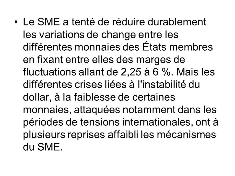 Le SME a tenté de réduire durablement les variations de change entre les différentes monnaies des États membres en fixant entre elles des marges de fluctuations allant de 2,25 à 6 %.