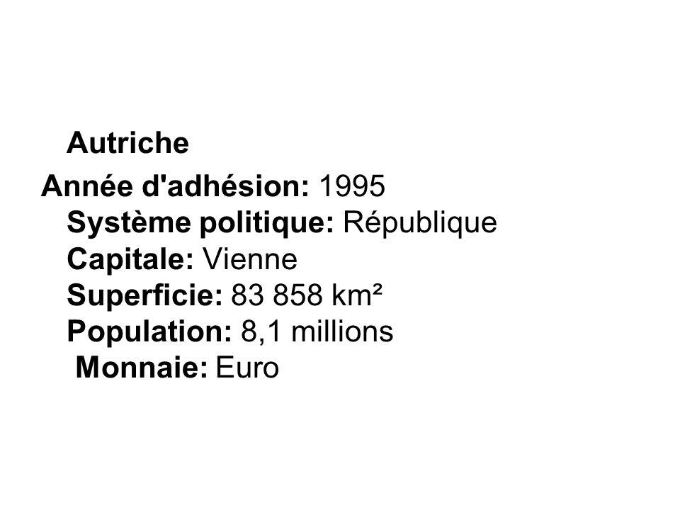 Autriche Année d adhésion: 1995 Système politique: République Capitale: Vienne Superficie: 83 858 km² Population: 8,1 millions Monnaie: Euro.