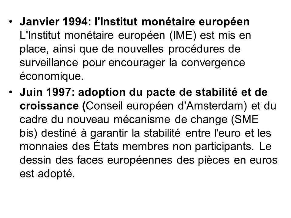 Janvier 1994: l Institut monétaire européen L Institut monétaire européen (IME) est mis en place, ainsi que de nouvelles procédures de surveillance pour encourager la convergence économique.