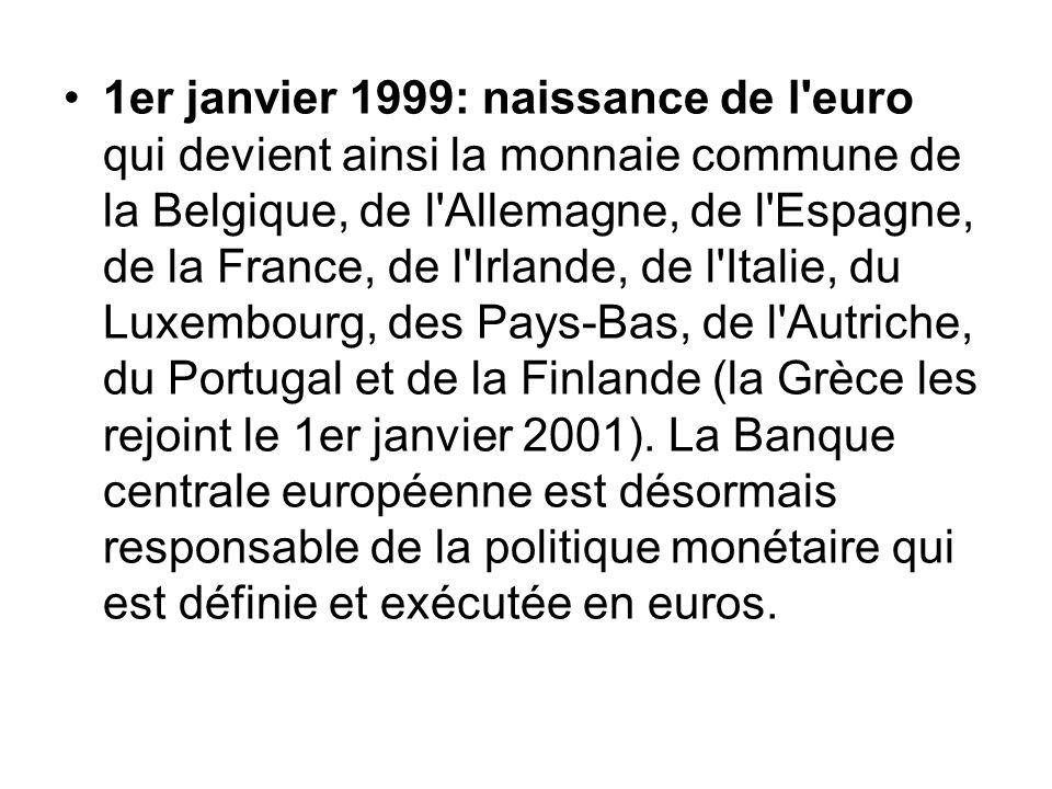 1er janvier 1999: naissance de l euro qui devient ainsi la monnaie commune de la Belgique, de l Allemagne, de l Espagne, de la France, de l Irlande, de l Italie, du Luxembourg, des Pays-Bas, de l Autriche, du Portugal et de la Finlande (la Grèce les rejoint le 1er janvier 2001).