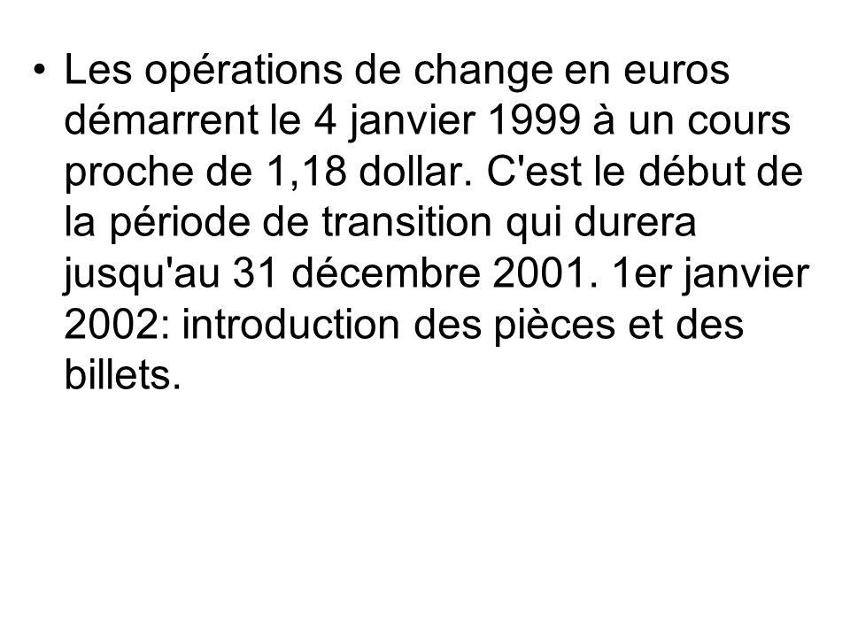 Les opérations de change en euros démarrent le 4 janvier 1999 à un cours proche de 1,18 dollar.