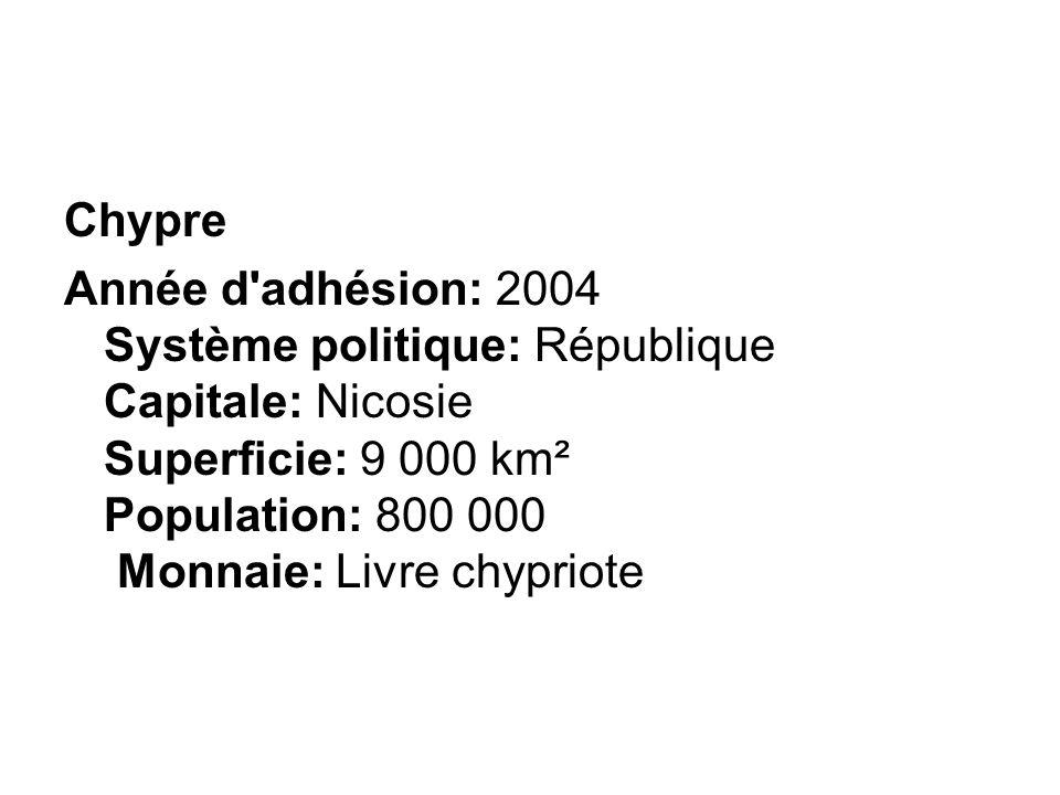 Chypre Année d adhésion: 2004 Système politique: République Capitale: Nicosie Superficie: 9 000 km² Population: 800 000 Monnaie: Livre chypriote.