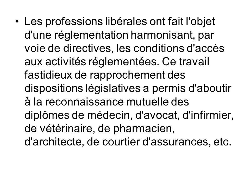 Les professions libérales ont fait l objet d une réglementation harmonisant, par voie de directives, les conditions d accès aux activités réglementées.