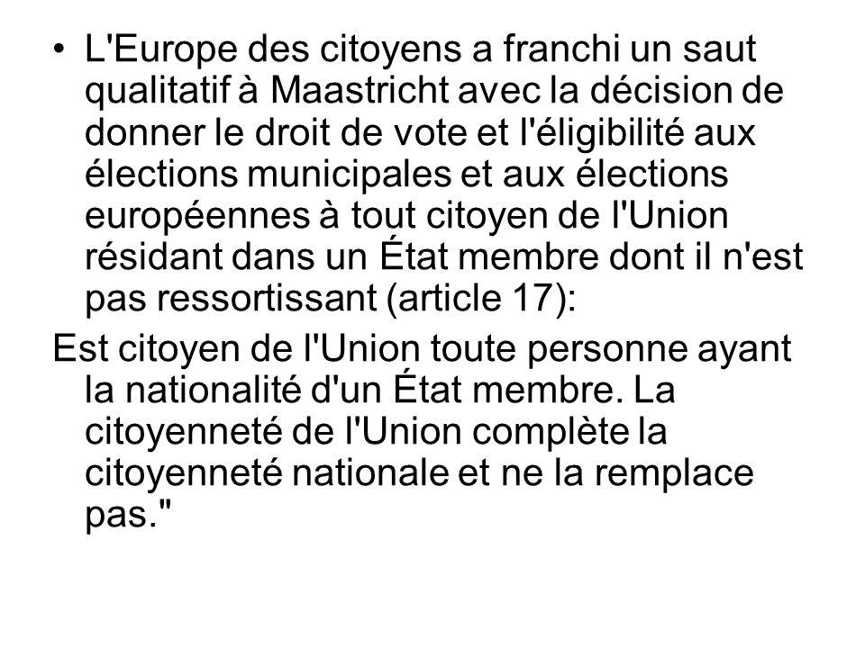 L Europe des citoyens a franchi un saut qualitatif à Maastricht avec la décision de donner le droit de vote et l éligibilité aux élections municipales et aux élections européennes à tout citoyen de l Union résidant dans un État membre dont il n est pas ressortissant (article 17):