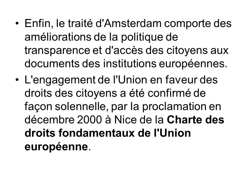 Enfin, le traité d Amsterdam comporte des améliorations de la politique de transparence et d accès des citoyens aux documents des institutions européennes.