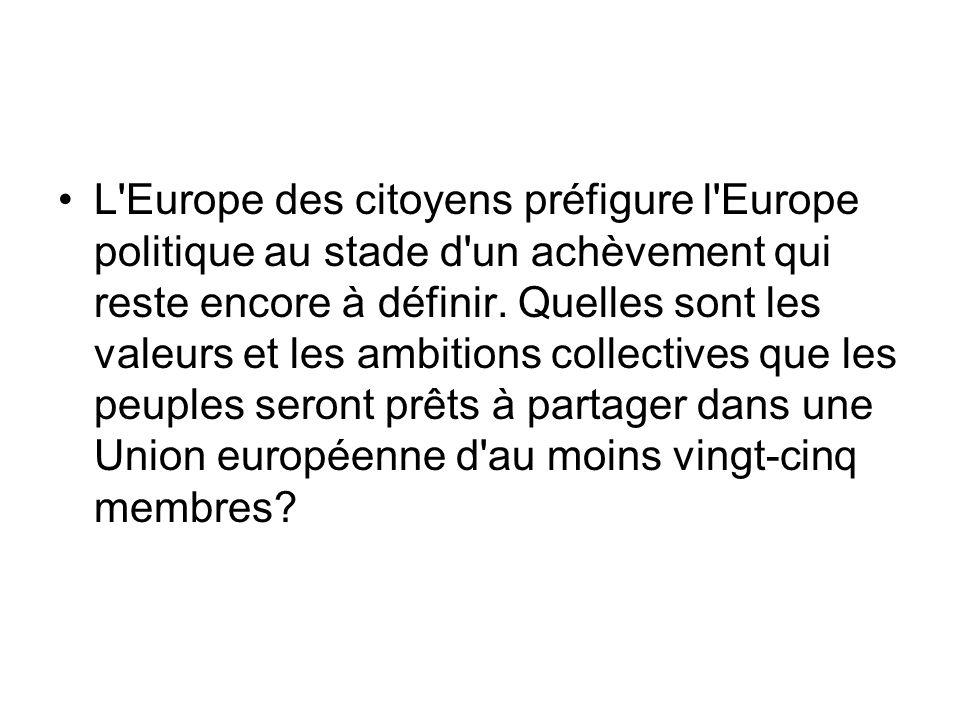 L Europe des citoyens préfigure l Europe politique au stade d un achèvement qui reste encore à définir.