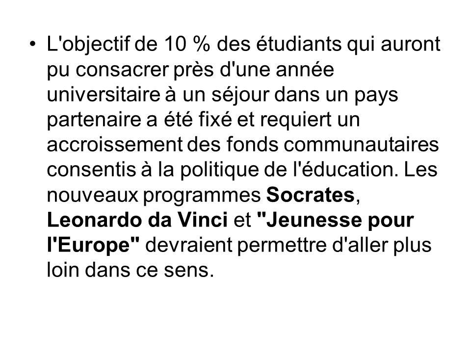 L objectif de 10 % des étudiants qui auront pu consacrer près d une année universitaire à un séjour dans un pays partenaire a été fixé et requiert un accroissement des fonds communautaires consentis à la politique de l éducation.