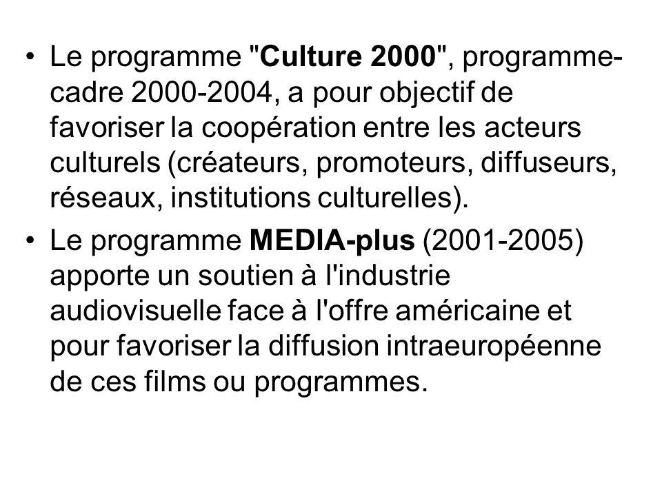 Le programme Culture 2000 , programme-cadre 2000-2004, a pour objectif de favoriser la coopération entre les acteurs culturels (créateurs, promoteurs, diffuseurs, réseaux, institutions culturelles).