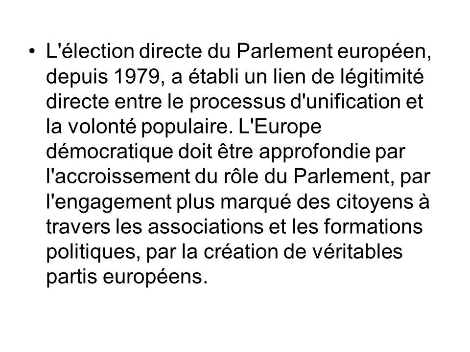 L élection directe du Parlement européen, depuis 1979, a établi un lien de légitimité directe entre le processus d unification et la volonté populaire.