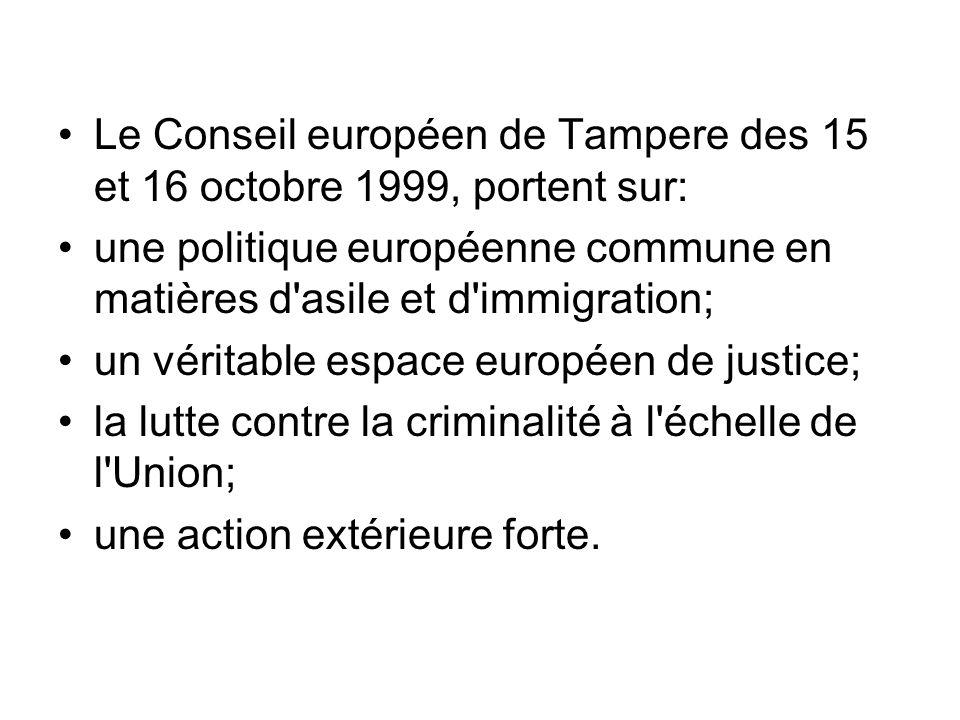 Le Conseil européen de Tampere des 15 et 16 octobre 1999, portent sur: