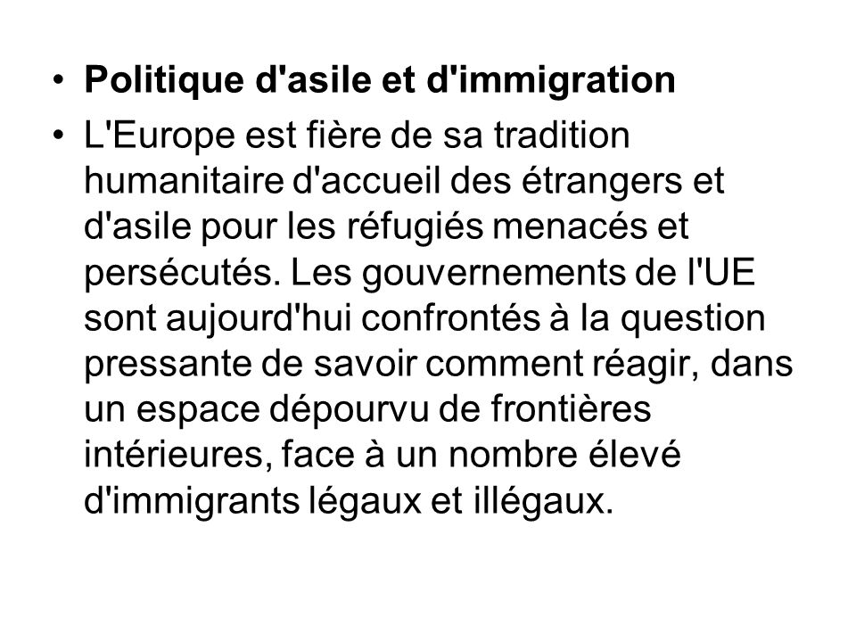 Politique d asile et d immigration