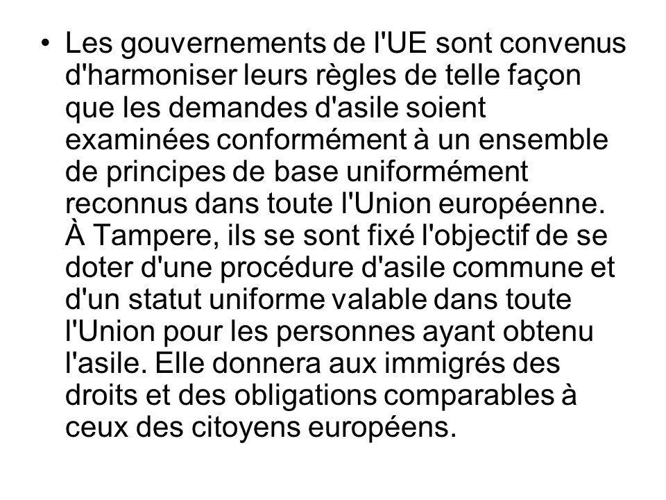 Les gouvernements de l UE sont convenus d harmoniser leurs règles de telle façon que les demandes d asile soient examinées conformément à un ensemble de principes de base uniformément reconnus dans toute l Union européenne.