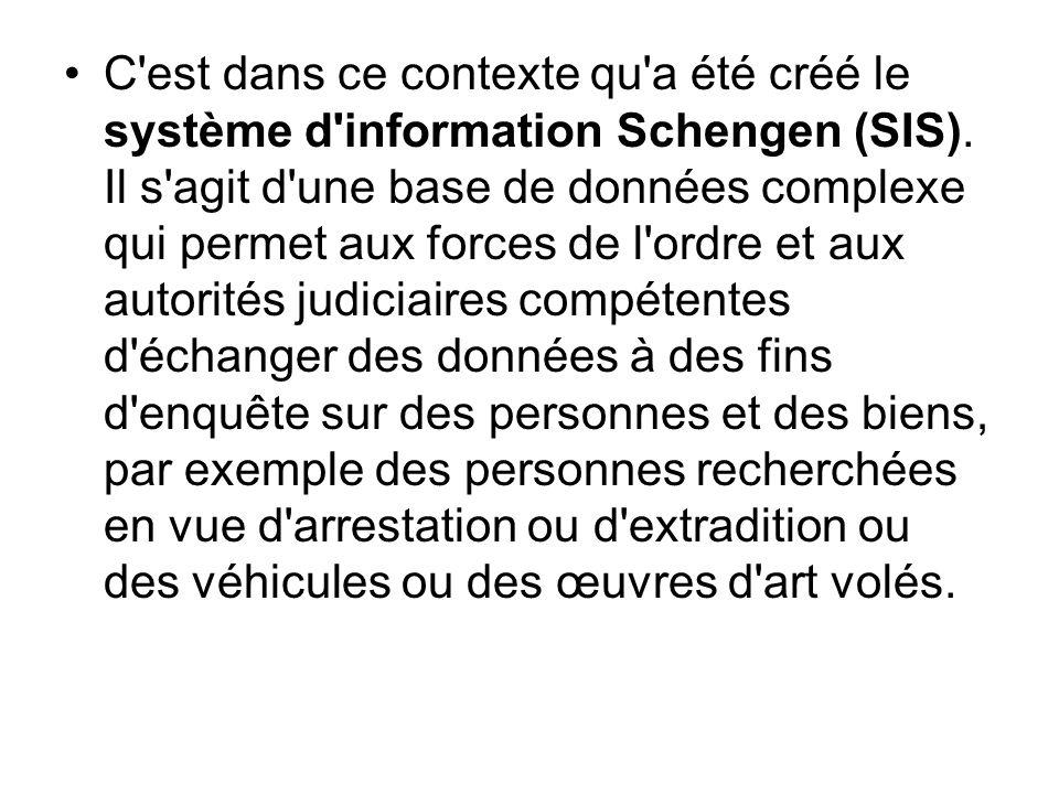 C est dans ce contexte qu a été créé le système d information Schengen (SIS).