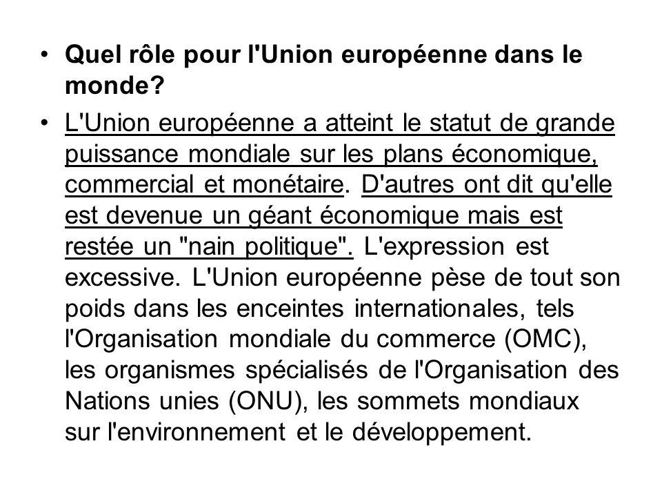 Quel rôle pour l Union européenne dans le monde