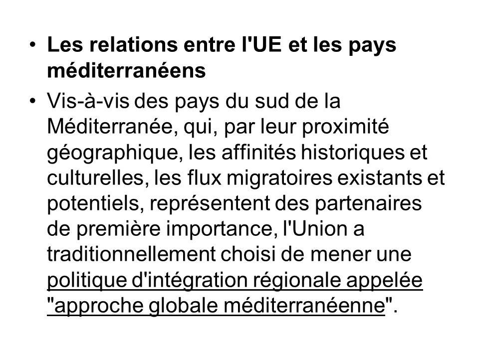 Les relations entre l UE et les pays méditerranéens