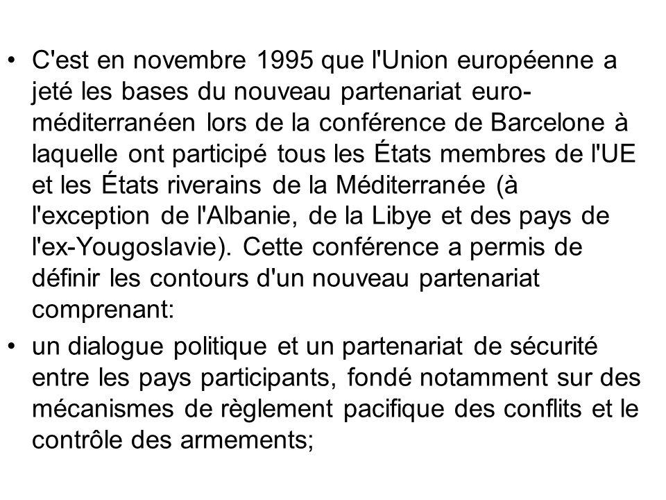 C est en novembre 1995 que l Union européenne a jeté les bases du nouveau partenariat euro-méditerranéen lors de la conférence de Barcelone à laquelle ont participé tous les États membres de l UE et les États riverains de la Méditerranée (à l exception de l Albanie, de la Libye et des pays de l ex-Yougoslavie). Cette conférence a permis de définir les contours d un nouveau partenariat comprenant: