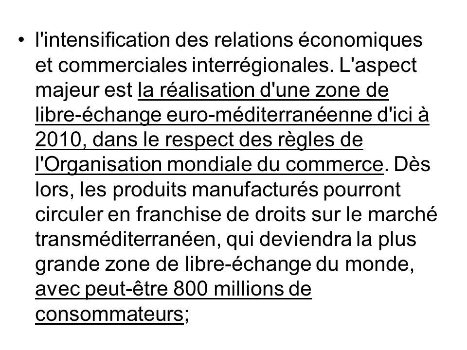 l intensification des relations économiques et commerciales interrégionales.