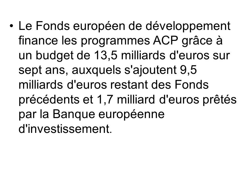 Le Fonds européen de développement finance les programmes ACP grâce à un budget de 13,5 milliards d euros sur sept ans, auxquels s ajoutent 9,5 milliards d euros restant des Fonds précédents et 1,7 milliard d euros prêtés par la Banque européenne d investissement.