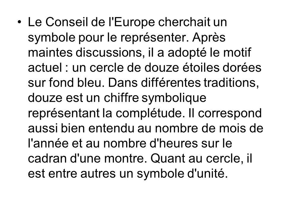 Le Conseil de l Europe cherchait un symbole pour le représenter