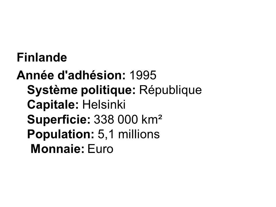 Finlande Année d adhésion: 1995 Système politique: République Capitale: Helsinki Superficie: 338 000 km² Population: 5,1 millions Monnaie: Euro.