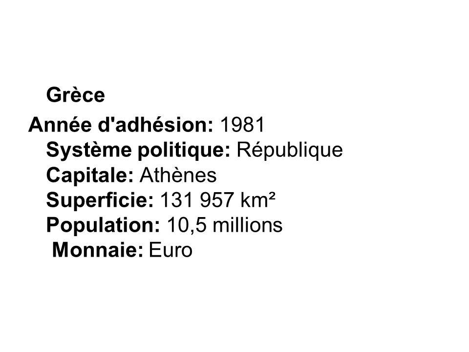 Grèce Année d adhésion: 1981 Système politique: République Capitale: Athènes Superficie: 131 957 km² Population: 10,5 millions Monnaie: Euro.