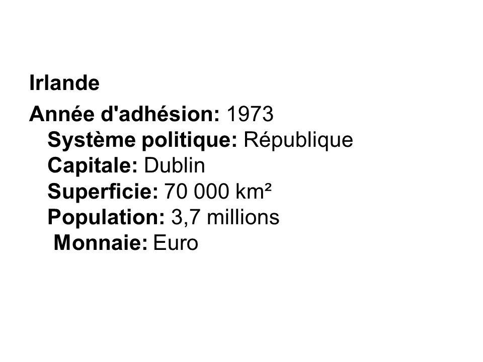 Irlande Année d adhésion: 1973 Système politique: République Capitale: Dublin Superficie: 70 000 km² Population: 3,7 millions Monnaie: Euro.