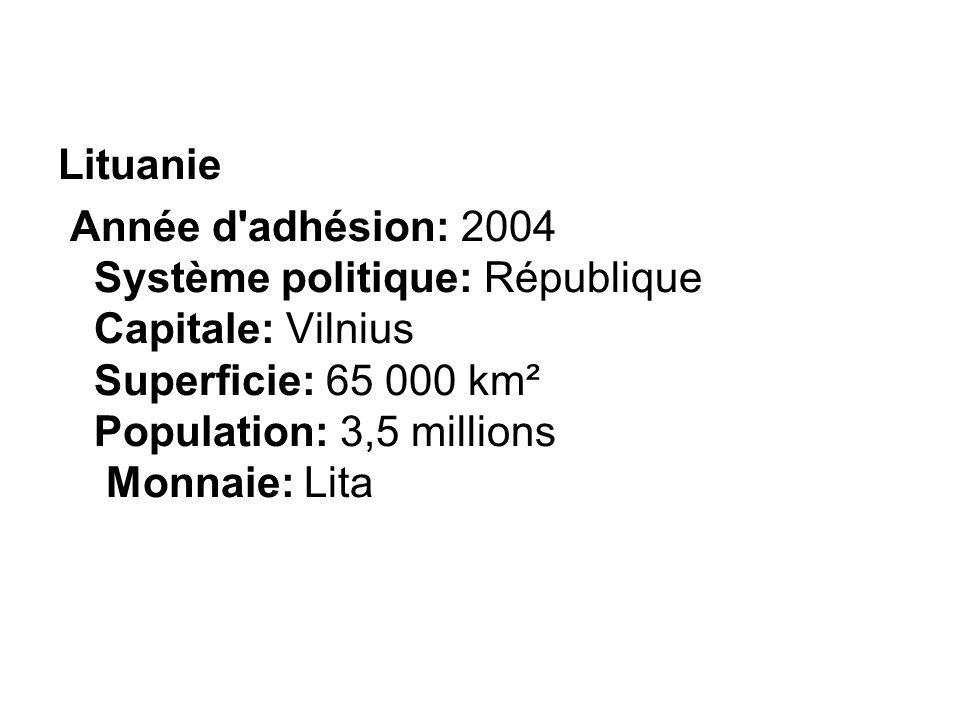 Lituanie Année d adhésion: 2004 Système politique: République Capitale: Vilnius Superficie: 65 000 km² Population: 3,5 millions Monnaie: Lita.