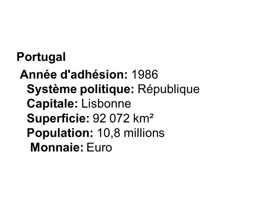 Portugal Année d adhésion: 1986 Système politique: République Capitale: Lisbonne Superficie: 92 072 km² Population: 10,8 millions Monnaie: Euro.