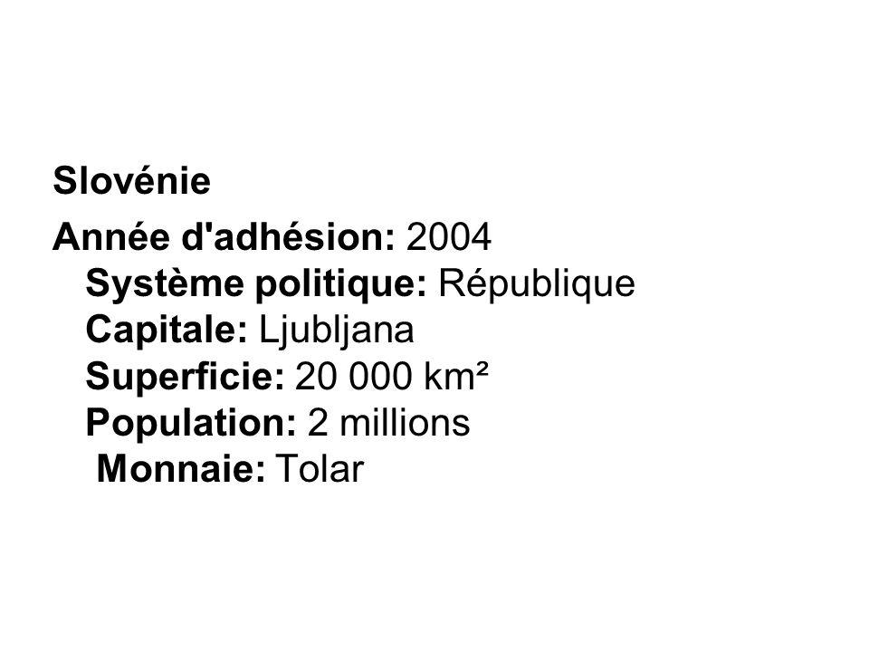 Slovénie Année d adhésion: 2004 Système politique: République Capitale: Ljubljana Superficie: 20 000 km² Population: 2 millions Monnaie: Tolar.