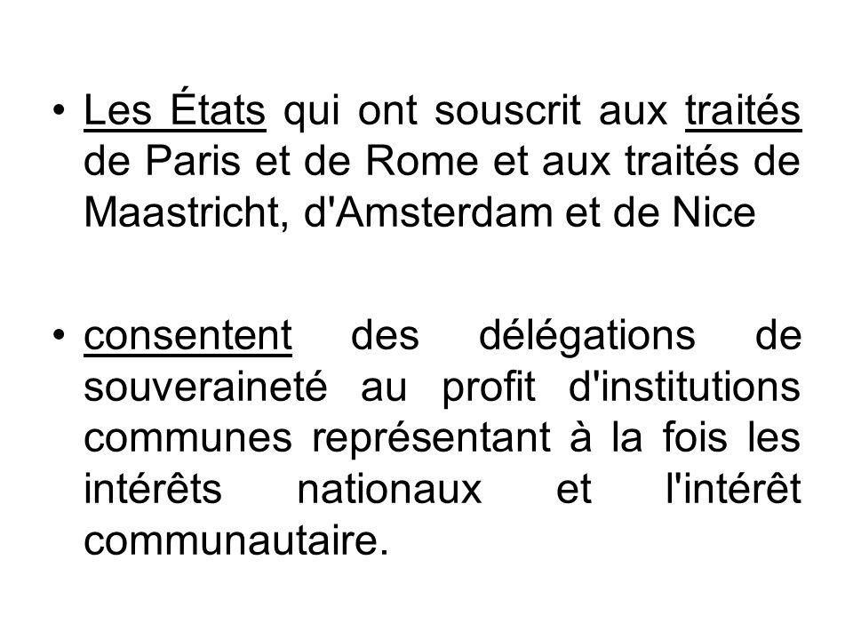 Les États qui ont souscrit aux traités de Paris et de Rome et aux traités de Maastricht, d Amsterdam et de Nice