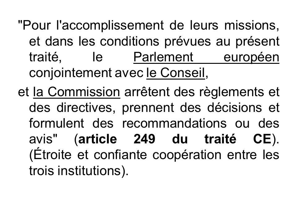 Pour l accomplissement de leurs missions, et dans les conditions prévues au présent traité, le Parlement européen conjointement avec le Conseil,