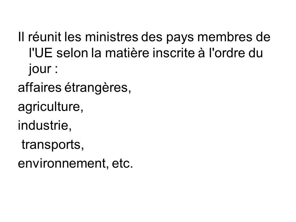 Il réunit les ministres des pays membres de l UE selon la matière inscrite à l ordre du jour :