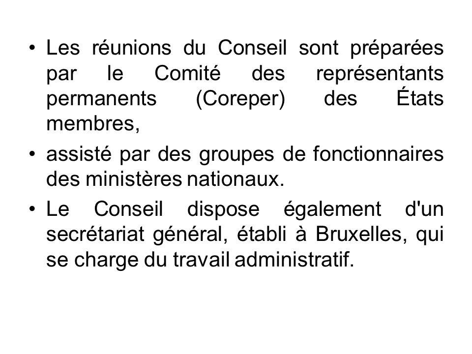 Les réunions du Conseil sont préparées par le Comité des représentants permanents (Coreper) des États membres,