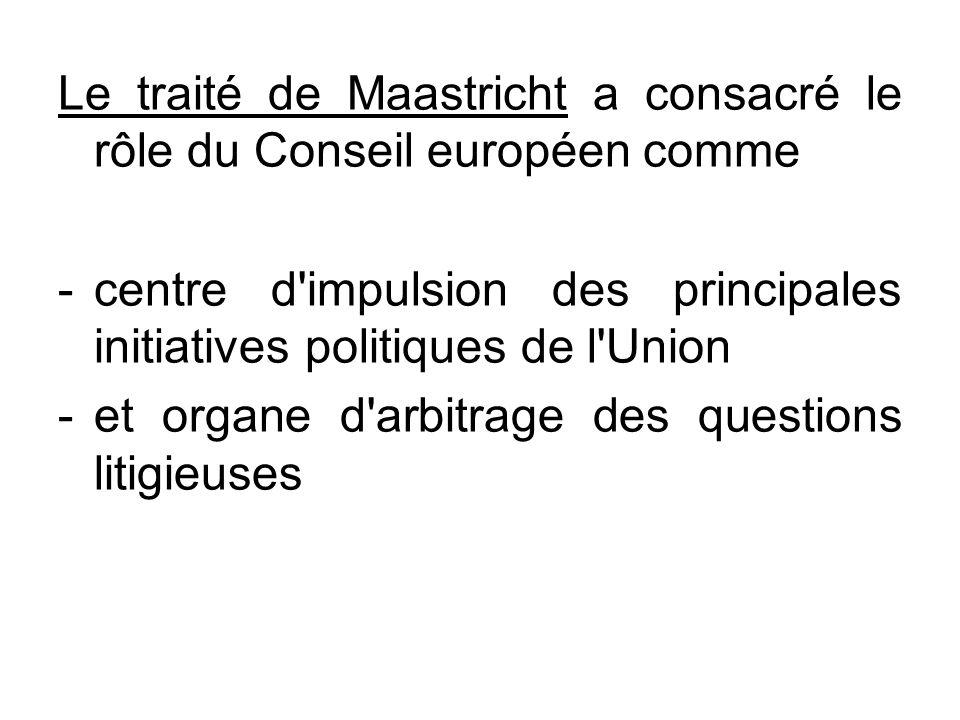 Le traité de Maastricht a consacré le rôle du Conseil européen comme