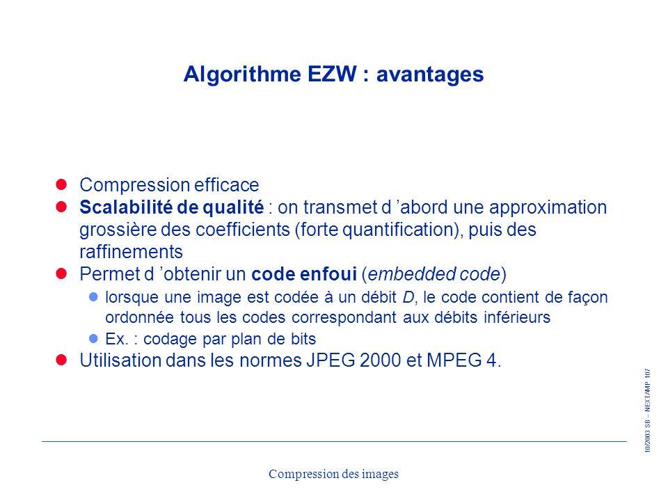Algorithme EZW : avantages