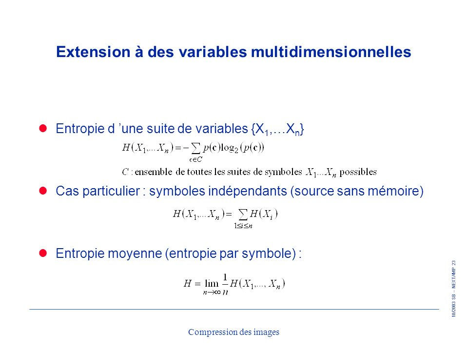 Extension à des variables multidimensionnelles