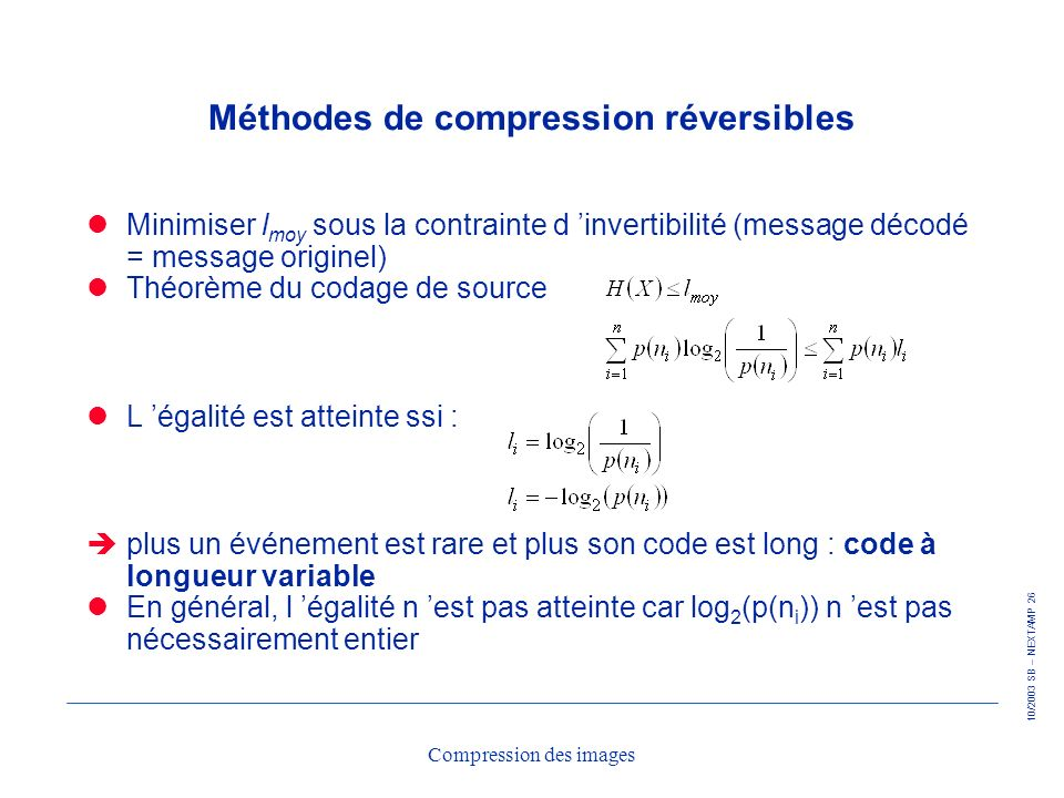 Méthodes de compression réversibles
