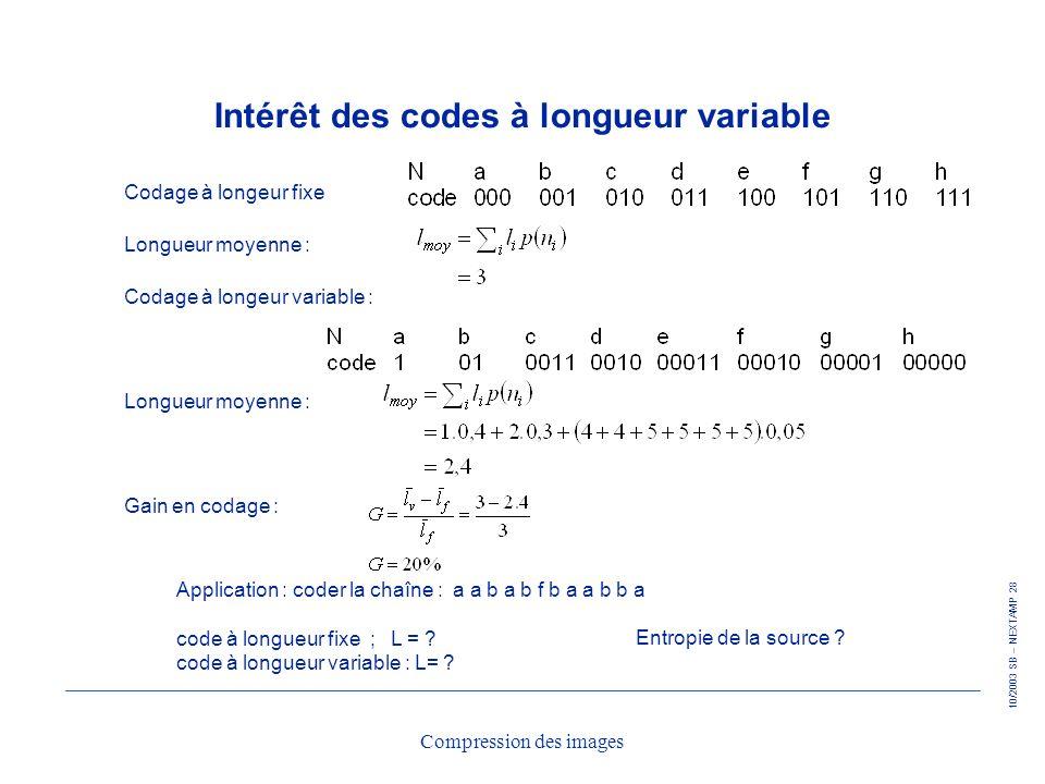 Intérêt des codes à longueur variable